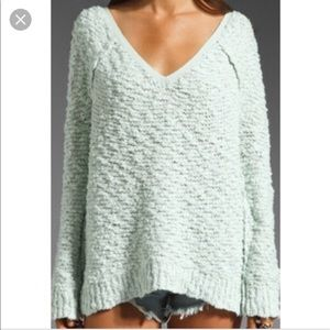 Free People V-neck Song Bird Mint Sweater